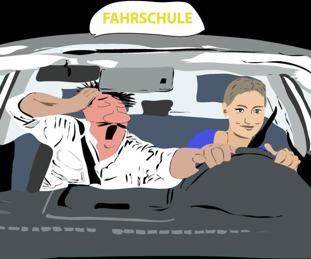Grafik: Fahrlehrer und Fahrschülerin im Fahrschulauto